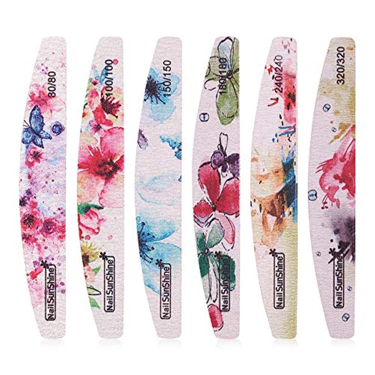 多数の慣習スナップKingsie 爪やすり 6点セット 花柄 ネイルファイル 両面使える 爪磨き エメリーボード 80 100 150 180 240 320