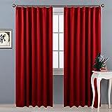 NICETOWN 遮光カーテン 2枚セット レッド UVカット おしゃれ 飾り プレゼント 派手 北欧 幅100cm丈200cm