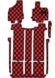 BMS(ビーエムエス) クリアチェックフロアマット レッド×ブラック 【トヨタ エスティマハイブリッド AHR20W H18/6 ~ H24/5 X 7人乗 サードシート6:4分割手動シート メーカーオプションナビ有車】 A04-T212-112