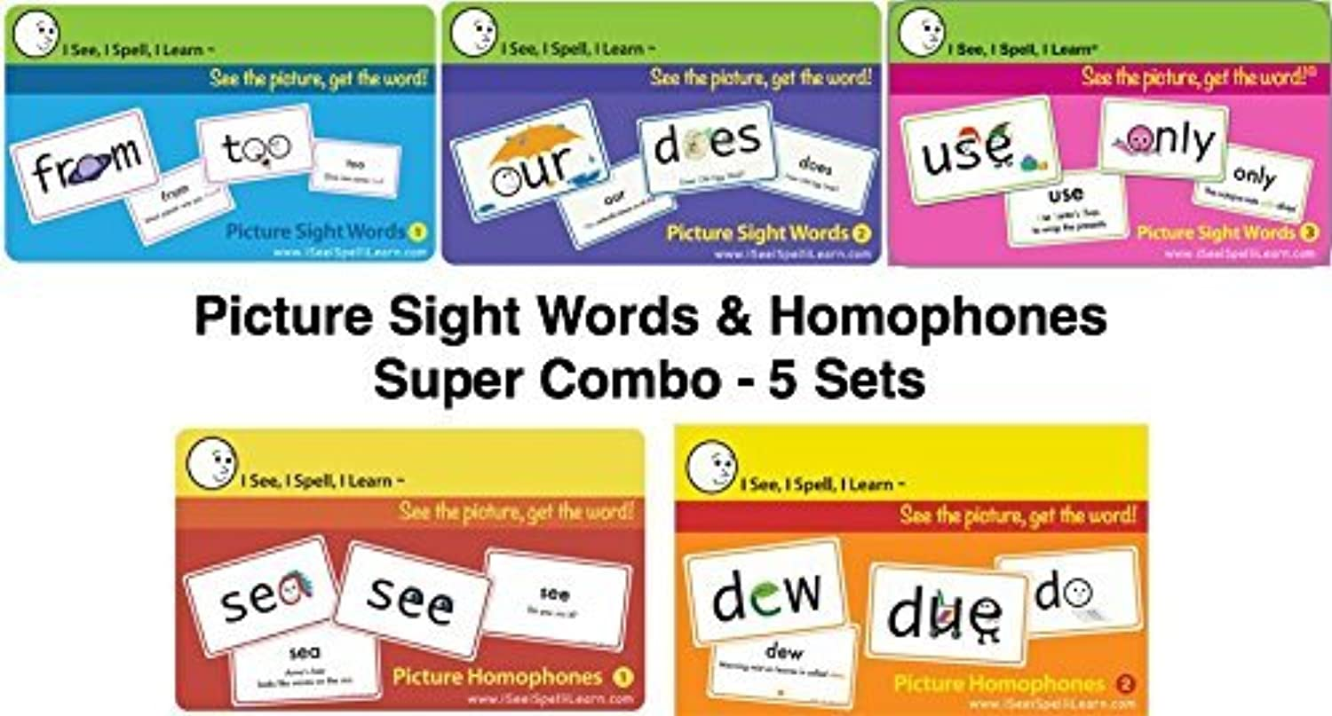 I See, I Spell, I Learn - Super Combo - Picture Sight Words & Homophones Flashcards