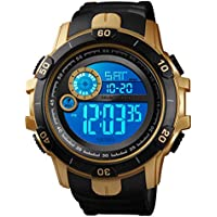 Men Wrist Watch Outdoor Alarm Backlight Stopwatch Digital Watch Gold Water Resistant Watch