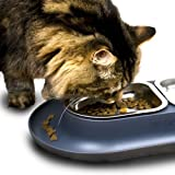 Hepper - Nomnom Modern Cat Bowl - Whisker Friendly + No Spill - Pet Food and Water Dish for Cats, Dogs, and Small Pets - Grey