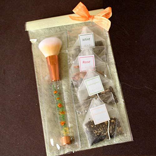 「オレンジ・ハーバリウム・メイクブラシ&ハーブティ」水中花アレンジメントが彩るチークブラシと4種類のハーブ紅茶のギフトセット(ローズ・カモミール・レモングラス・ミント) 母の日に