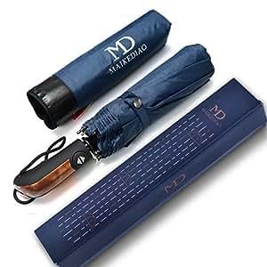 MAIKEDIAO 折り畳み傘 自動開閉 耐風撥水 Teflon加工 グラスファイバー 10本骨 丈夫 コンパクト ブルー
