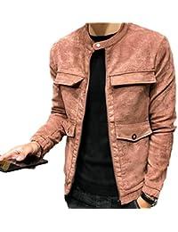 Sodossny-JP メンズフォークススエードスリムフィット秋フライトボンバージャケットコートポケット付き