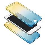 アディダス 水着 (AFROMARKET) iPhone7Plus グラデーション 2色 360度 全面保護型カバー TPU ソフトケース (6 IC7Plusイエロー×ブルー)