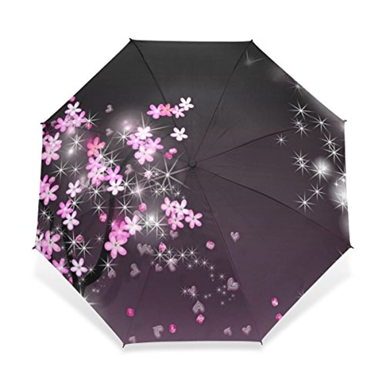 USAKI(ユサキ) ぴかぴか エレガント 民族 和風 和柄 花柄 レトロ ピンク パープル 桜柄 桜の花びら 花吹雪,折りたたみ傘 3段 晴雨兼用 耐風 日傘 雨傘 手動開閉 携帯用 三つ折り畳み かさ