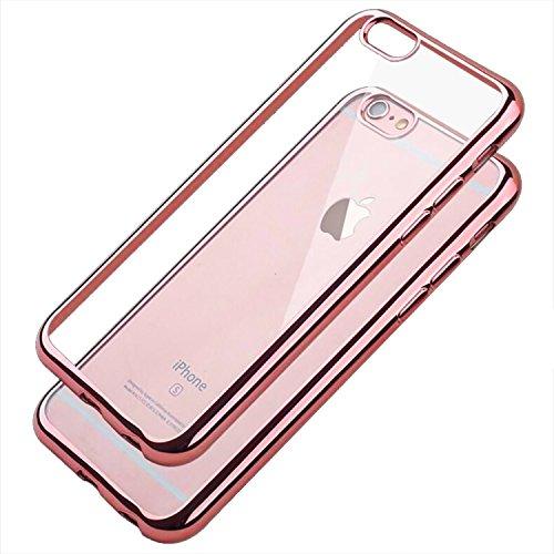 iPhone6s ケース / iPhone6 ケース TPU 【COOLOO】 透明 ソフト クリア メッキ加工 耐衝撃 最軽量 超薄型 一体型 人気 オシャレ アイフォン 6s / 6 用 (ローズゴールド)