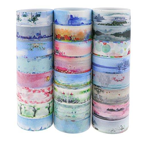 Powangle マスキングテープ 和紙テープ 和紙小巻ロール ラッピング デコレーション 剥がしやすい カラフル 汎用 (24ロール)