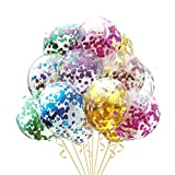HOUZE LS-9491 Balloons (Set of 10) - Clear Multi Coloured Glitters