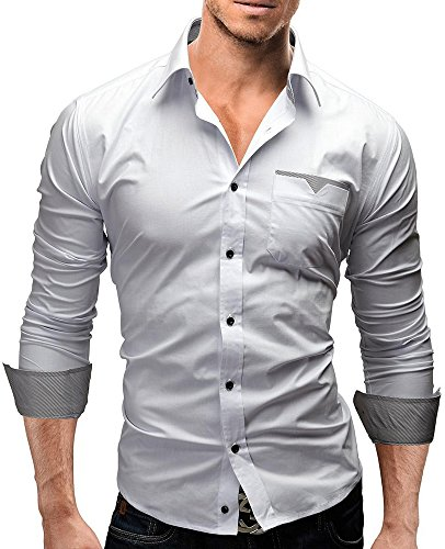 High Quality Solid Men Plaid Patch Long Sleeve Shirt (Large)