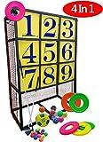Macro Giantポータブル投球目標セット- 3×3配置のパネル1個- 野球ボール9個、フリスビー6枚、サッカーボール1個、ゴルフボール12個、ゴルフクラブ2本、トレーニングエイド、ヤードゲーム、幕営遊戯