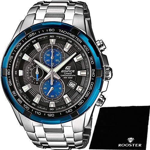 【セット】[カシオ]CASIO EDIFICE コバルトブルーベゼル 100m防水 クロノグラフ EF-539D-1A2VUDF メンズ 腕時計 エディフィス&ROOSTER マイクロファイバークロス 15×15cm付き [並行輸入品]