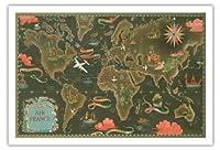 エールフランス地図 - ルート世界地図を飛びます - 星座早見表 - ビンテージな航空会社のポスター によって作成された ルシアン・ブーシェ c.1948 - アートポスター - 76cm x 112cm