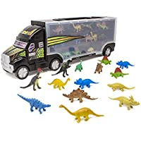 (Dino Trailer) - Boley 41cm Dinosaur Transport Truck Carrier 14 Piece - Mini Dino Figures with Semi Truck Trailer Toy - Loadable Miniature Dinosaurs with Portable Truck and Collapsible Easy to Hold Handle