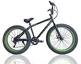 ファットバイク FAT BIKE 26インチ 7段変速ギア付き 自転車 (ブラック/グリーン)