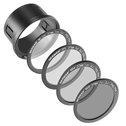 NEEWER DJI Phantom 3 Professional, Advanced 及び Standardに対応、37mmフィルターキット: UVフィルター+偏光フィルタ+ ND4フィルター+ ND8フィルター+スナップオンアダプタリング+フィルターポ