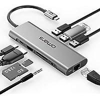 Omars USB C ハブ 9 in 1アルミニウム PD対応 typec hub(HDMI 4Kアダプタ、USB 3.0ポート×3、SD/microSDカードリーダー、LANポート1000Mbps、3.5mm ヘッドフォンジャック、USB C Power Delivery電源供給ポート )MacBook Pro 2017/2016, HW MateBook, Google Chromebook Pixel, Samsung S8など対応 (9 in 1)