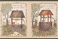 Chesapeake レンガと木製の水の井戸では、グリーンシームベージュの壁紙ボーダーレトロなデザインを願い、ロール15' X 6.75