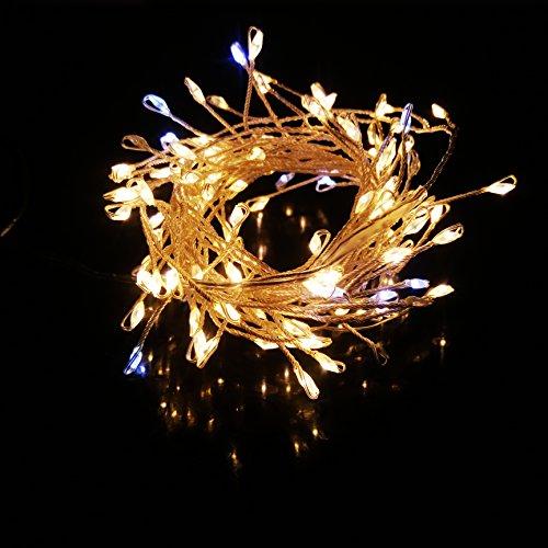BIENNA イルミネーションライト LED USB給電式 銀色ワイヤーライト 電飾 飾り 装飾ライト LEDストリングライト 室内 室外 庭 祝日 結婚式 正月 クリスマス パーティ 2M/120球 防水 耐熱 1個セット入れ(米粒型)