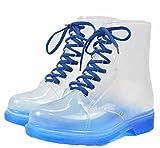 (ドチィン)DaoCheng レインブーツ レディース 長靴 レインシューズ 雨靴 防水 カジュアル 滑りにくい 可愛い シンプル 編み上げ レースアップ 透明 おしゃれ 梅雨対応?マーチンブーツ(Dブルー)