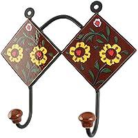 IndianShelfハンドメイドセラミックブラウンTiny Flowerタイルコートフック/ホルダー/ハンガー1 Piece (hk-1799 ) 標準 ブラウン