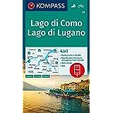Lago di Como, Lago di Lugano 1:50 000: 4in1 Wanderkarte 1:50000 mit Aktiv Guide und Detailkarten inklusive Karte zur offline Verwendung in der KOMPASS-App. Fahrradfahren.