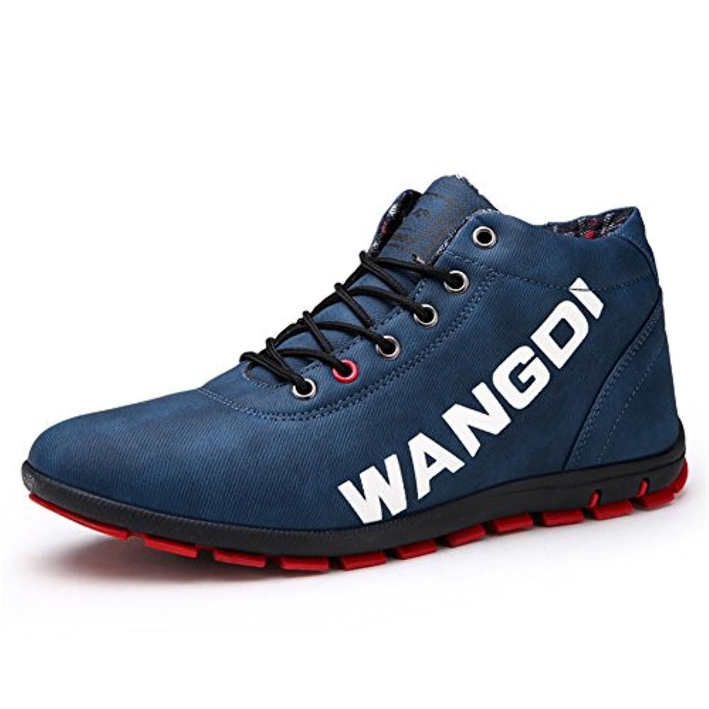 Phefee スニーカー メンズ ブーツ 靴 レイン シューズ カジュアル ブーツ 春 防水 防滑 アウトドア ショートブーツ 春靴 25.5 ブルー