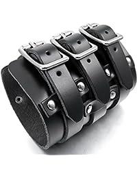 ブラックレザースチールトリプルバックルメンズパンクゴシックバイカーカフブレスレット、調整可能な8