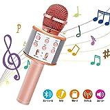 カラオケマイクBluetooth Yihuilan ポータブルスピーカー 多機能 高音質 無線マイク ノイズキャンセリング 音楽再生 家庭カラオケ Android/iPhoneに対応 (ローズゴールド)