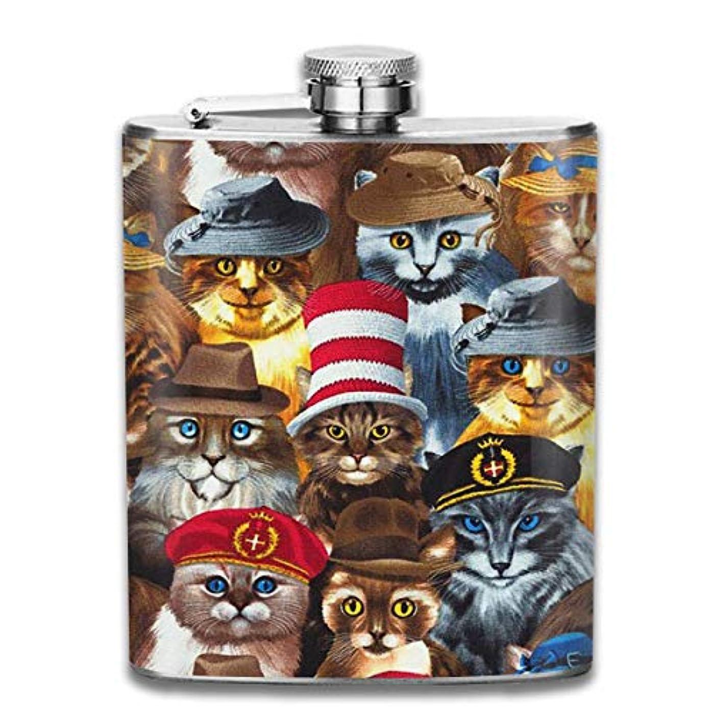 比較的うんざり墓猫の帽子フラスコ スキットル ヒップフラスコ 7オンス 206ml 高品質ステンレス製 ウイスキー アルコール 清酒 携帯 ボトル