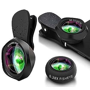 スマホレンズ クリップ式 広角レンズ マクロレンズ 魚眼レンズ 高画質 歪み、ケラレなし スマートフォン用カメラレンズ 接写 セルカレンズ スマホ用カメラレンズセット iphone ipad Android xperia対応 携帯レンズ 3in1(広角+マクロ+魚眼)