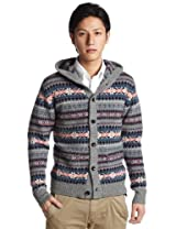 Fair Isle Hooded Cardigan Sweater 1228-117-0153: Medium Grey