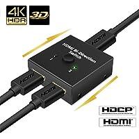 HDMI切替器 双方向セレクター 4K/3D/1080p対応 HDMIスイッチ 1入力2出力/2入力1出力 分配器 手動切り替え 電源不要 HDTV DVD DVR Xbox PS3 PS4 など対応