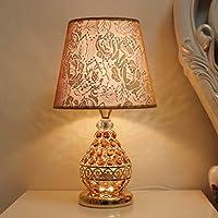 Xwyun ヨーロッパのクリスタルテーブルランプ、LEDベッドルームのベッドサイドランプ、ファブリック創造的な現代ロマンチックな結婚式 子供の部屋の装飾テーブルランプ(43 * 24CM) (D)