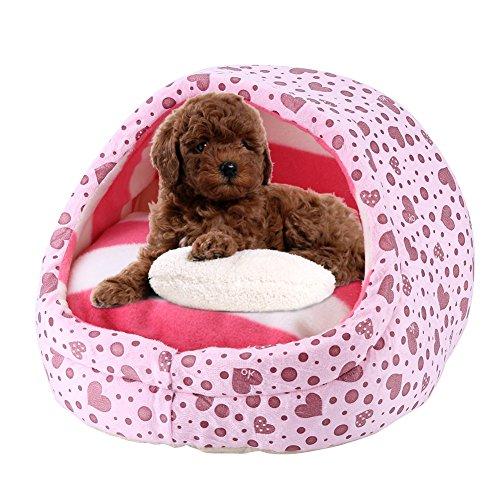 SOROS 小型犬 猫用 ペットベッド マット ふかふかハウス クッション 可愛い 秋冬 冬用 防寒 洗える ドーム型  ふわふわ  暖かい  ベッド Sサイズ (ピンク)