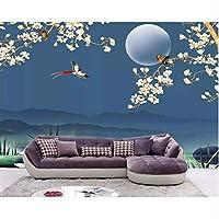Wuyyii カスタムウォールペーパー家の装飾高品質シルク素材モクレンの花鳥のリビングルームの背景の壁3Dの壁紙-200X140Cm