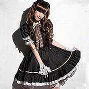 メイド 服 衣装4点セット コスチューム コスプレ衣装 女性 男性用 (L)