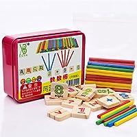 elegantstunning 79個の教育用おもちゃ 木製の数学的なスティックブロックは、男の子と女の子のためのカウントスティックを設定します。
