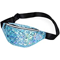 Sodhue Fashion Women Waist Pack Shiny Fanny Pack Waterproof Adjustable PU Bum Bag for Festival Party Rave Travel