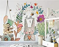 KAHSFA 3D壁紙 ファッション抽象的なカスタム壁紙壁画北欧シンプルな漫画のウサギの子供部屋のウォール-150cmx100cm