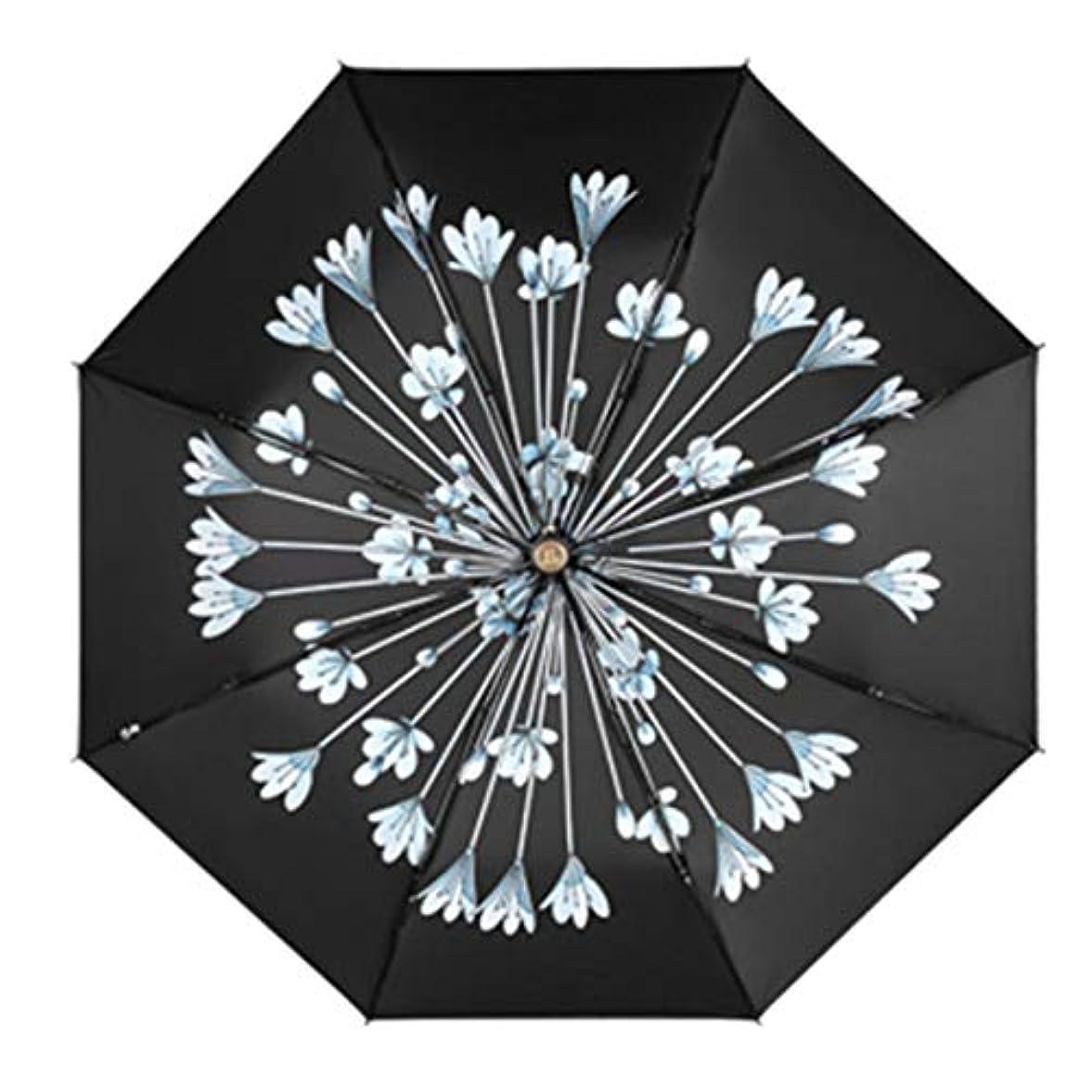 意欲縁石硬化するHOHYLLYA 女性の日焼け止め傘黒表面紫外線保護折りたたみ日傘携帯用女性スポーツ傘 sunshade (色 : 黒)
