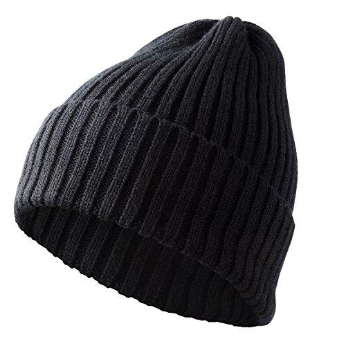LESGO ニット帽子 ニットキャップ ニット帽 ケーブルニット 帽子 折り返し シンプル 防寒 保温 伸縮 秋冬春用 スキー スノボ 自転車 アウトドア メンズ レディース ブラック