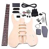 Yibuy バスウッド メープル WT-2 6弦エレクトリックギター DIYキット ボディピックガード ハムバッカーピックアップ ブリッジ調整ペグネックノブ ギタービルダーLuthier用