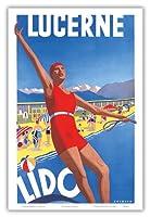 保養地 - ルツェルン湖、スイス - ビンテージな世界旅行のポスター によって作成された アルバート・ソロバック c.1932 - アートポスター - 31cm x 46cm