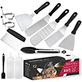 Professional Griddle Accessories Kit,12 Pcs Outdoor Stainless Steel Barbecue Tools Set,Great Flat Top Grill Cooking for Outdo