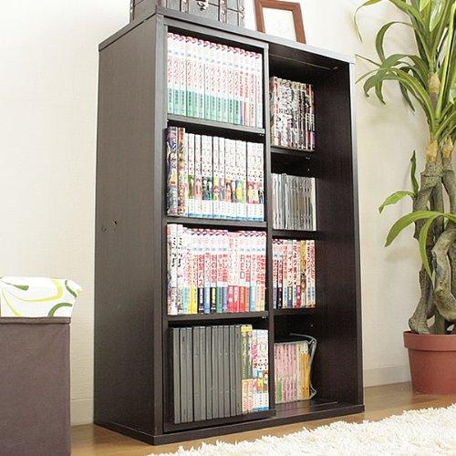スライド式書棚 「ミニスペース」【ブラウン色(茶色)】 本棚収納 ディスプレイラック