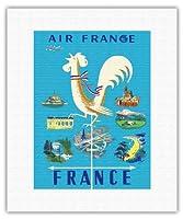 フランス - エアフランス - ギャリックルースター風見とフランスの目印 - ビンテージな航空会社のポスター によって作成された ジャン・マリー・ナバラン c.1951 - キャンバスアート - 28cm x 36cm キャンバスアート(ロール)