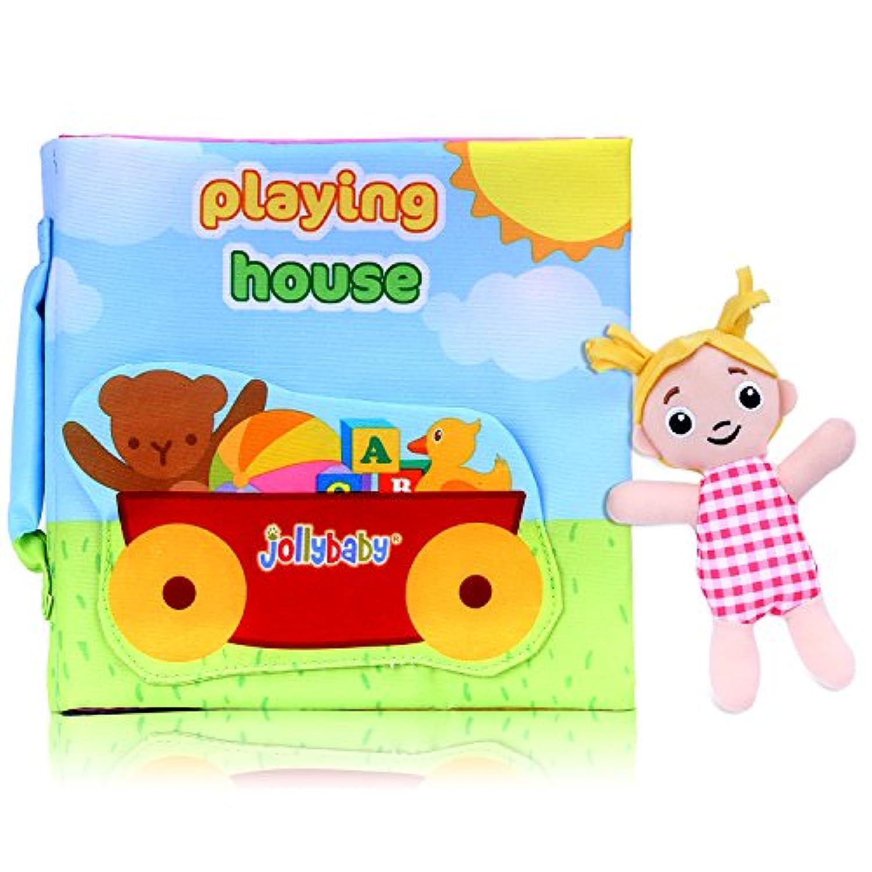 ソフトアクティビティ布帳、zooawa早期開発教育Crinkle Book Toy withストラップの再生の赤ちゃん、幼児、子供用(家) – カラフル