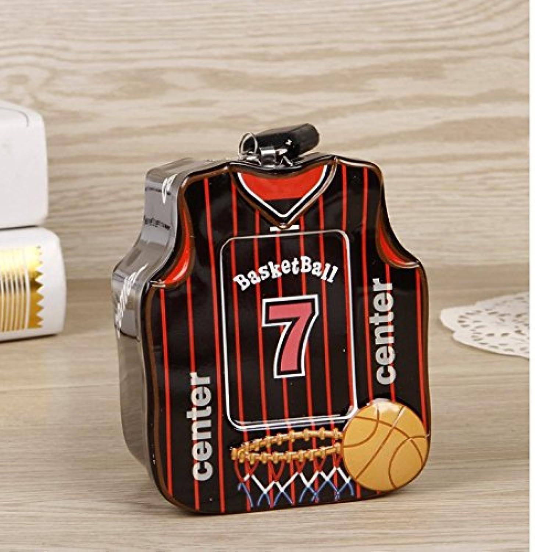 マネー バンク バスケットボールシャツピギーバンク高品質の錫ストレージボックス(黒)